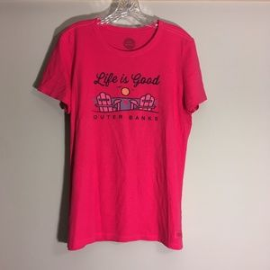 Life is Good Outer Banks Hot Pink T-Shirt Size L